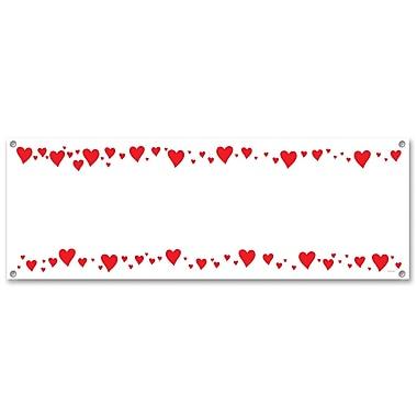 Bannière de cœurs, 5 pi x 21 po, paq./3