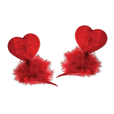 Heart Hair Clips, Red, 8/Pack