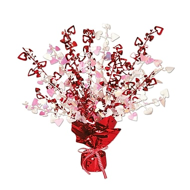 Heart Gleam 'N Burst Centerpiece, Red And Opal, 15