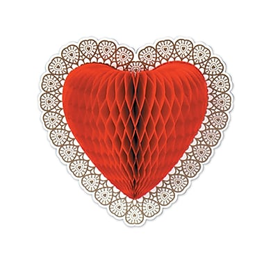 Tissue Heart Decoration, Red Tissue, 12