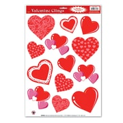 """Beistle 12"""" x 17"""" Heart Clings, 91/Pack"""