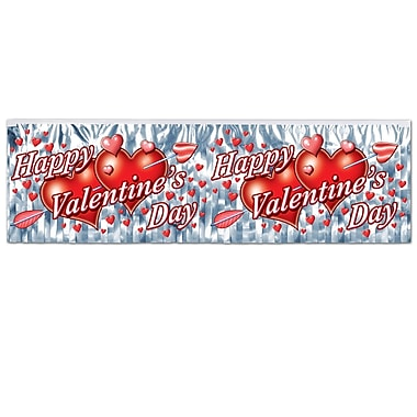 Flame Resistant Metallic Valentine's Day Fringe Banner, 14