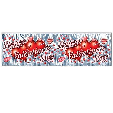 Bannière Saint-Valentin métallique, résistante au feu, 14 po x 4 pi, paq./4