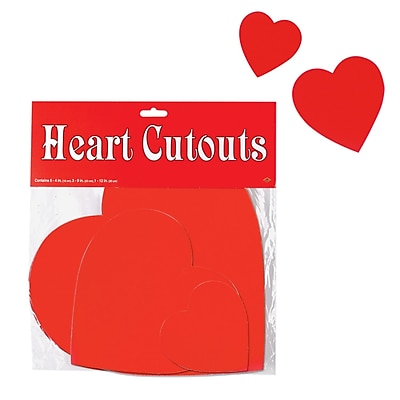 Beistle Assorted Printed Heart Cutouts, 36/Pack