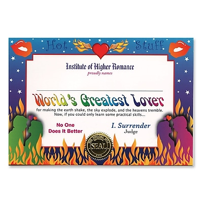 Beistle World's Greatest Lover Certificate, 5