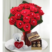 What a Bloom 18 Jeweled Red Roses Bouquets