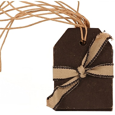 JAM Paper Gift Tags with String, Small, 2.25 x 1.63, Black Kraft, 18/Pack (297525310g)