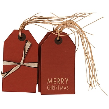 JAM Paper® Christmas Gift Tags Set, 6 Red and 6 Red with Merry Christmas, 12/pack (302025317)