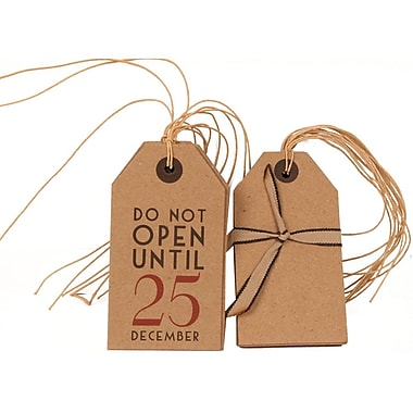 JAM Paper® Christmas Gift Tags Set, Recycled Brown Kraft, 6 Brown and 6 Brown, Do Not Open Until Dec 25, 12/pack (302025318)