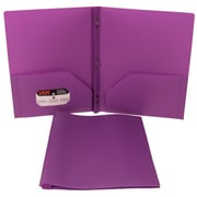JAM Paper® Plastic Eco Two Pocket Clasp School Folders with Prong Clip Fasteners, Purple, Sold Individually (382ECpu)
