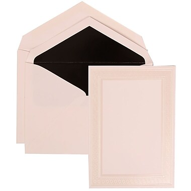 JAM Paper® Wedding Invitation Set, Large, 5.5 x 7.75, White, Ivory Embossed Border, Black Lined Envelopes, 50/pack (304924642)
