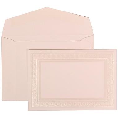 JAM Paper® Wedding Invitation Set, Small, 3 3/8 x 4 3/4, White Card, Ivory Embossed Border, White Envelopes, 100/pk (304924651)