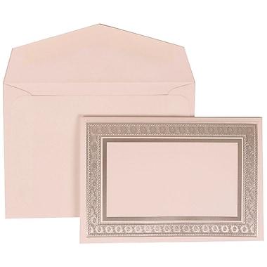 JAM Paper® Wedding Invitation Set, Small, 3 3/8 x 4 3/4, White Cards with Silver Border, White Envelopes, 100/pack (305224674)
