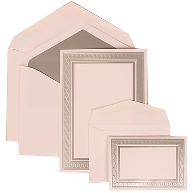 JAM Paper® Wedding Invitation Combo Sets, 1 Sm 1 Lg, White with Silver Border, White Silver Lined Envelopes 150/pack (305224675)