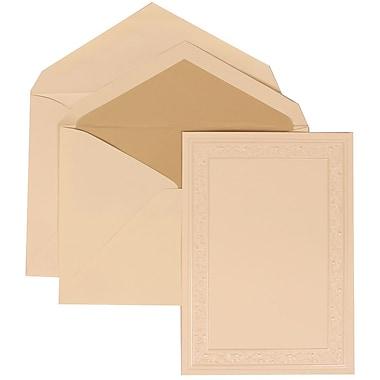 JAM Paper® Wedding Invitation Set, Large, 5.5 x 7.75, Ivory, vory Heart Vine Border, Ecru Lined Envelopes, 50/pack (305924757)