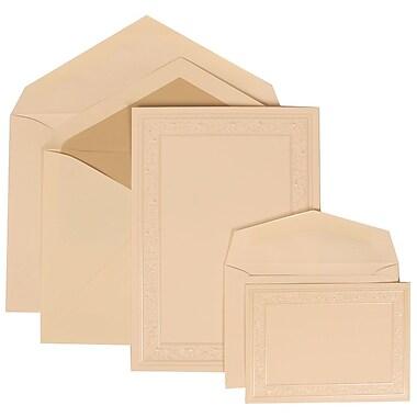 JAM Paper® Wedding Invitation Combo Sets, 1 Sm 1 Lg, Ivory, Ecru Lined Envelopes, Ivory Heart Vine Border, 150/pack (305924760)