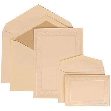 JAM Paper® Wedding Invitation Combo Sets, 1 Sm 1 Lg, Ivory, Ecru Lined Envelopes, Ivory Heart Vine Border, 150/pack (305924761)