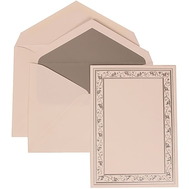 JAM Paper® Wedding Invitation Set, Large, 5.5 x 7.75, White Cards, Silver Lily Border, Silver Lined Envelopes, 50/pk (306024763)