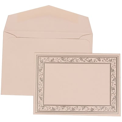 JAM Paper® Wedding Invitation Set, Small, 3 3/8 x 4 3/4, White Card, Silver Lily Border, White Envelopes, 100/pack (306024764)