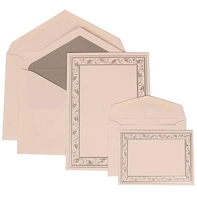 JAM Paper® Wedding Invitation Combo Sets, 1 Sm 1 Lg, White Cards, Silver Lily Border, Silver Lined Envelopes, 150/pk (306024766)