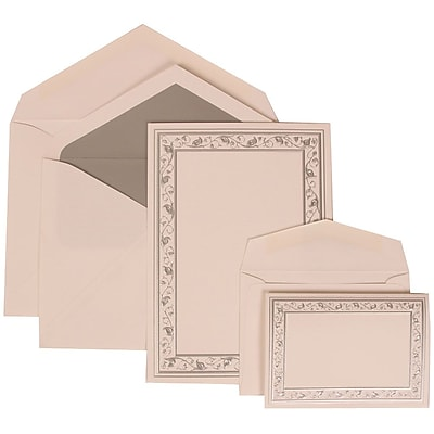 JAM Paper® Wedding Invitation Combo Sets, 1 Sm 1 Lg, White Cards, Silver Lily Border, Silver Lined Envelopes, 150/pk (306024767)