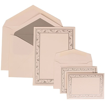 JAM Paper® Wedding Invitation Combo Sets, 1 Sm 1 Lg, White Cards, Silver Lily Border, Silver Lined Envelopes, 150/pk (306024768)