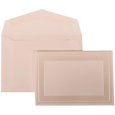 JAM Paper® Wedding Invitation Set, Small, 3 3/8 x 4 3/4, White Cards with Ivory Border, White Envelopes, 100/pack (306424789)
