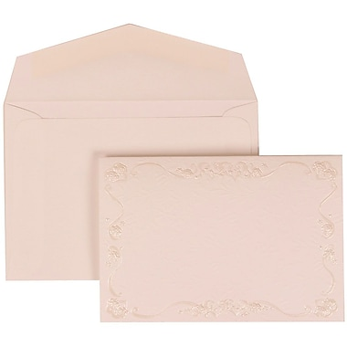 JAM Paper® Wedding Invitation Set, Small, 3 3/8 x 4 3/4, Ivory Envelopes and Maroon Rose Border, 100/pack (307224852)