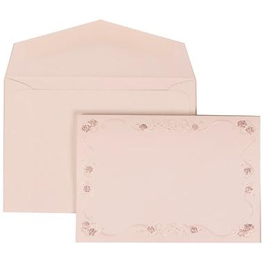 JAM Paper® Wedding Invitation Set, Small, 3 3/8 x 4 3/4, White Envelopes and Maroon Rose Border, 100/pack (307224855)