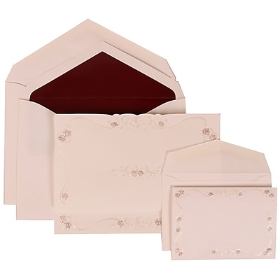 JAM Paper® Wedding Invitation Combo Sets, 1 Sm 1 Lg, White with Maroon Lined Envelopes with Maroon Design, 150/pack (307224856)