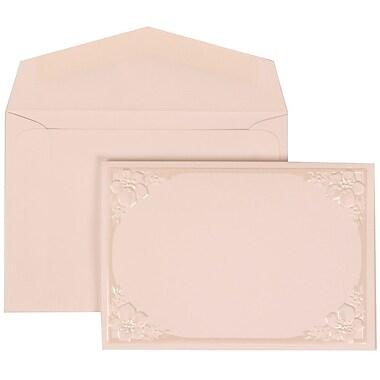 JAM Paper® Wedding Invitation Set, Small, 3 3/8 x 4 3/4, Ivory Cards, Flower Accent Border, White Envelopes, 100/pk (307624885)