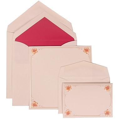 JAM Paper® Wedding Invitation Combo Sets, 1 Sm 1 Lg, White Cards, 4 Pink Flowers, Pink Lined Envelopes, 150/pack (307624892)