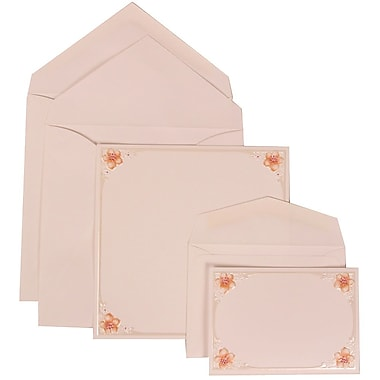 JAM Paper® Wedding Invitation Combo Sets, 1 Sm 1 Lg, Pink, Flower Accent Border, Crystal Lined Envelopes, 150/pack (307624898)