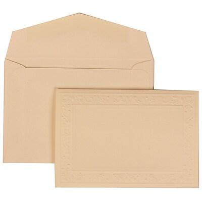 JAM Paper® Wedding Invitation Set, Small, 3 3/8 x 4 3/4, Ivory Cards, Embossed Garden Border, Ivory Env, 100/pack (308224939)
