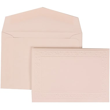JAM Paper® Wedding Invitation Set, Small, 3 3/8 x 4 3/4, White Card, Embossed Garden Border, White Envelopes, 100/pk (308224942)