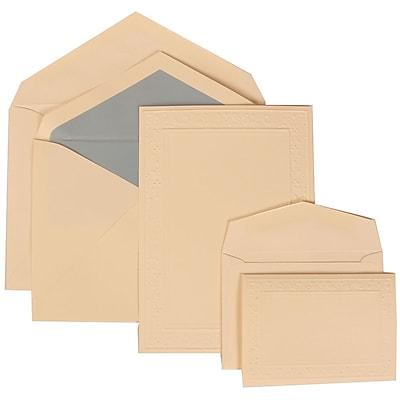 JAM Paper® Wedding Invitation Combo Sets, 1 Sm 1 Lg, Ivory, Embossed Garden Border, Blue Lined Envelopes, 150/pack (308224940)