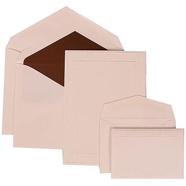 JAM Paper® Wedding Invitation Combo Sets, 1 Sm 1 Lg, White, Embossed Garden Border, Brown Lined Envelopes, 150/pack (308224945)