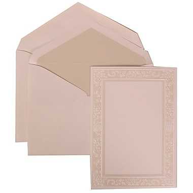 JAM Paper® Wedding Invitation Set, Large, 5.5 x 7.75, White, Ivory Garden Border, Crystal Lined Envelopes, 50/pack (308324953)