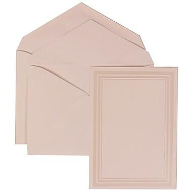 JAM Paper® Wedding Invitation Set, Medium Flat, 5.5x 7.75, White, Ivory Triple Border, White Lined Envelopes, 50/pk (309225020)