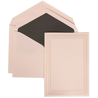 JAM Paper® Wedding Invitation Set, Medium, 5.5 x 7.75, White, Ivory Triple Border, Charcoal Lined Envelopes, 50/pack (309225022)