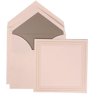 JAM Paper® Wedding Invitation Set, Medium Sq, 6.25x6.25, White, Triple Ivory Border, Silver Lined Envelopes, 50/pack (309225031)