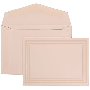 JAM Paper® Wedding Invitation Set, Small, 3 3/8 x 4 3/4, White Card with Ivory Triple Border, White Envelope, 100/pk (309225034)