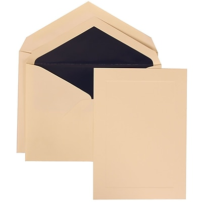 JAM Paper® Wedding Invitation Set, Large, 5.5 x 7.75, Ivory, Simple Ivory Border, Navy Blue Lined Envelopes, 50/pack (309325037)