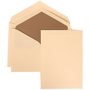 JAM Paper® Wedding Invitation Set, Large, 5.5 x 7.75, Ivory Cards, Ivory Simple Border, Taupe Lined Envelopes, 50/pk (309325038)