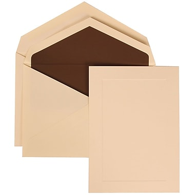 JAM Paper® Wedding Invitation Set, Medium, 5.25 x 7.25, Ivory with Simple Border with Brown Lined Envelopes, 50/pack (309325042)