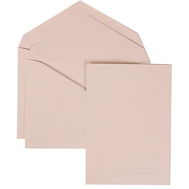 JAM Paper® Wedding Invitation Set, Large, 6 5/8 x 10, White with White Envelopes with Simple Border - 50/pack (309425050)