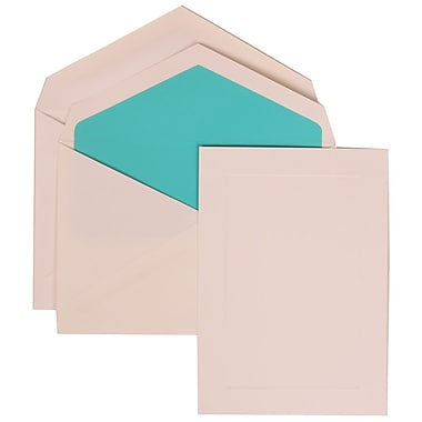 JAM Paper® Wedding Invitation Set, Medium, 5.5 x 7.75, White Cards, Simple Border, Aqua Blue Lined Envelopes, 50/pk (309425052)