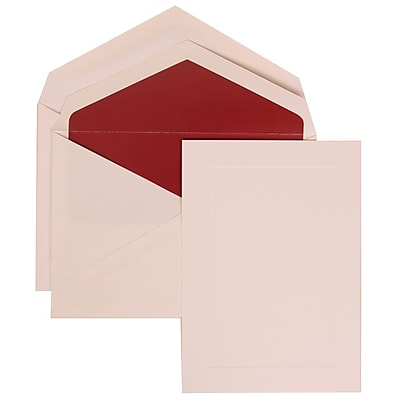 JAM Paper® Wedding Invitation Set, Medium Folded, 5.5 x 7.75, White Cards, Simple Border, Red Lined Envelopes, 50/pk (309425057)