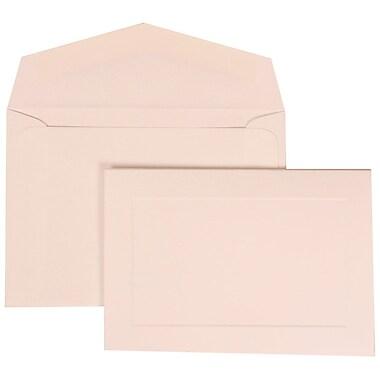JAM Paper® Wedding Invitation Set, Small, 3 3/8 x 4 3/4, White Cards with Border, White Envelopes, 100/pack (309425059)