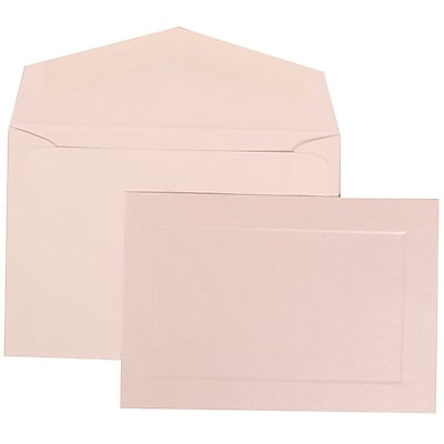 JAM Paper® Wedding Invitation Set, Small, 3 3/8 x 4 3/4, Pearl Cards with Panel Border, White Envelopes, 100/pack (309825073)